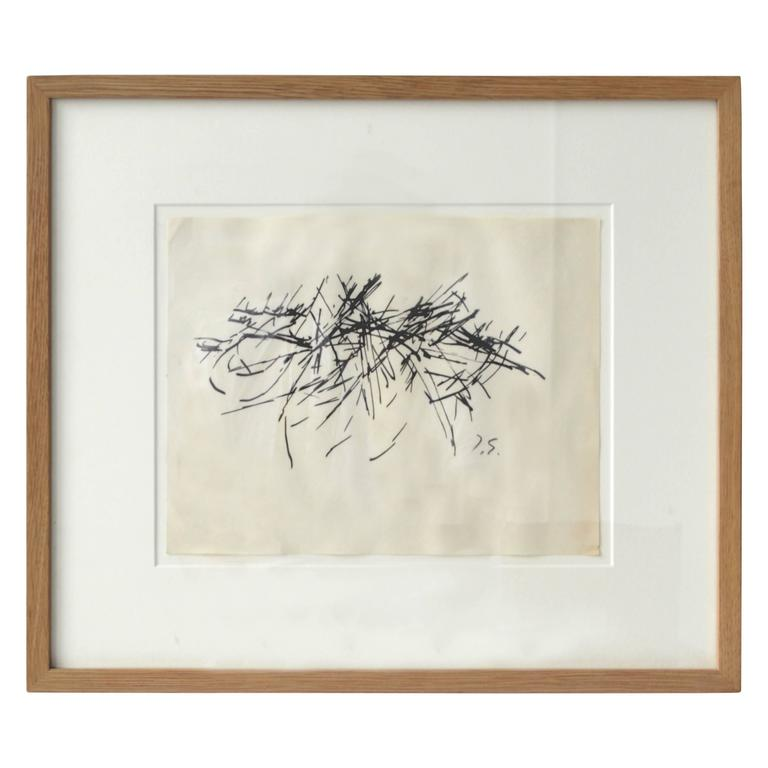 Framed Vintage Abstract Drawing by Jacques Germain