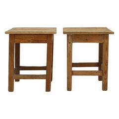 Pair of Vintage Rustic Wood Side Tables