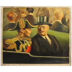1939 Painting FDR and King George by Listed Artist