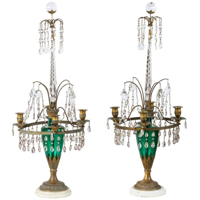 Neoclassical Girandole Pair of 19th Century Swedish Candelabra For Sale