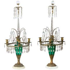 Neoclassical Girandole Pair of 19th Century Swedish Candelabra