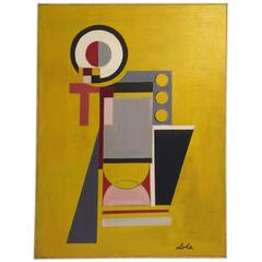 Vintage Constructivism Style Abstract Oil Painting on Canvas by New York Artist