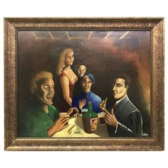 French Mid-Century Oil Painting of Bar Scene