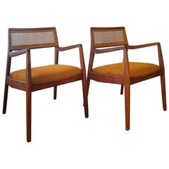 Pair of Jens Risom Walnut Cane Back Armchairs