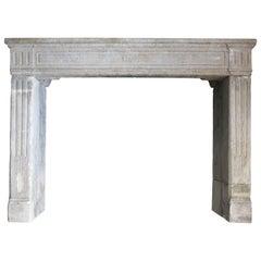 Original French Louis XVI Period Limestone Fireplace, circa 1790s, France