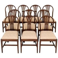 Set of Ten Mahogany Hepplewhite Influenced Dining Chairs