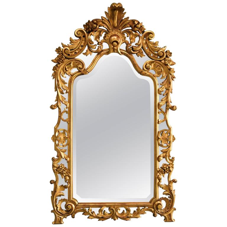 Large Highly Decorative Mid-19th Century Italian Giltwood Mirror