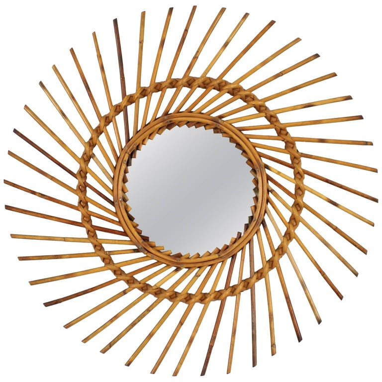 Spanish 1960s Rattan Sunburst Pinwheel Effect Sunburst Mirror