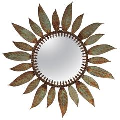 1960s Green & Rusty Wrought Iron Laurel Leaves Sunburst Mirror