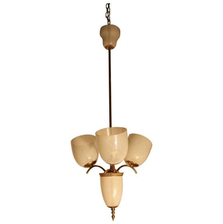 Ceiling Lamp Murano Art Glass Reticello Mid-Century Italian Design