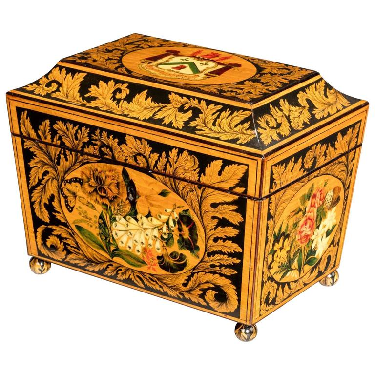 Regency Tea Caddy Decorated with Penwork For Sale