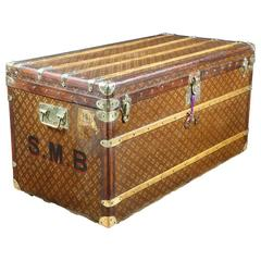 1930s Aux Etats-Unis French Monogram Steamer Trunk