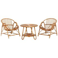 Pair of French Bamboo Armchairs with Table, 1950s