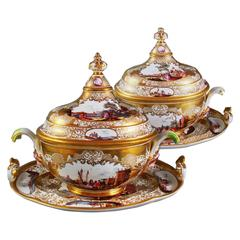 Two Meissen Gold-Ground Terrines with Covers and Stands