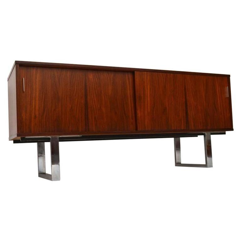 Rosewood And Chrome Retro Sideboard By Gordon Russell