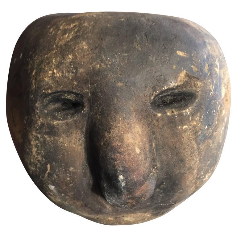 Antique New Guinea Hand-Carved Stone Ceremonial Mortar Figure
