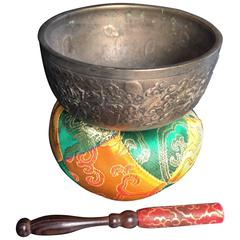 Beautiful Old Tibetan Singing Temple Meditation Bowl Complete with Silk Cushion