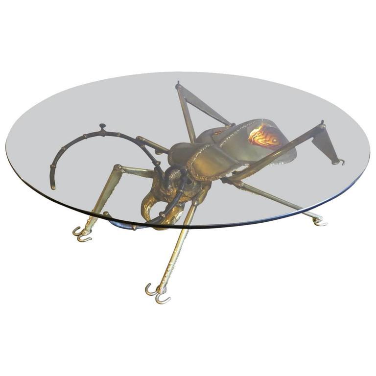Henri Fernandez Brass Insect Table For Atelier Duval-Brasseur  1