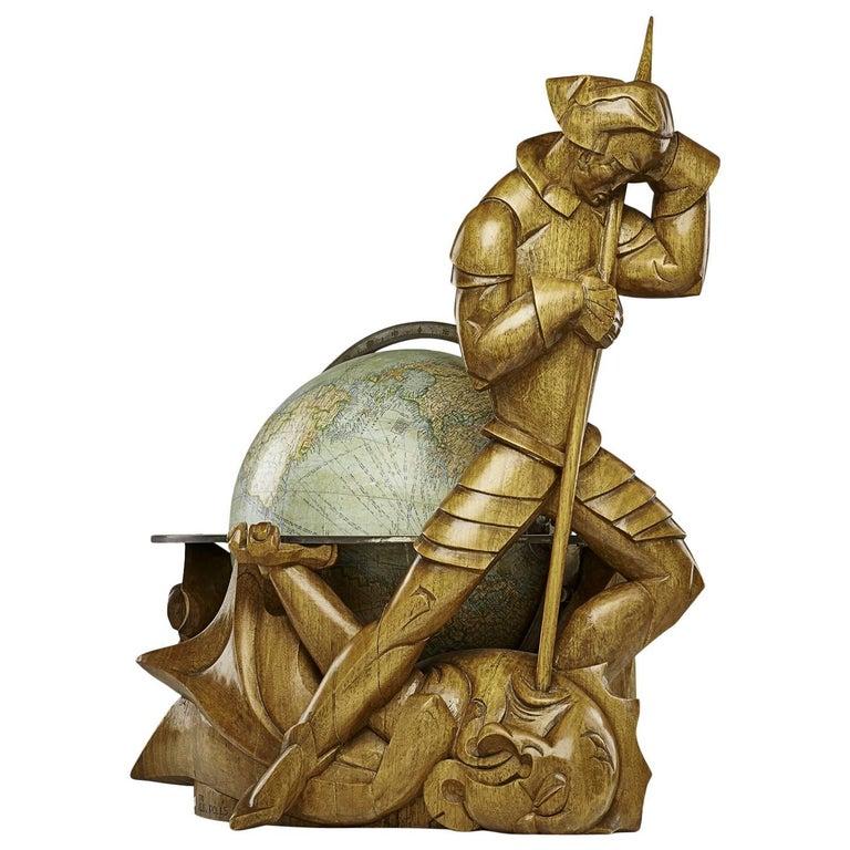 Philips Carved Wood Sculptural Globe by Albert Poels, Belgium, 1939 For Sale