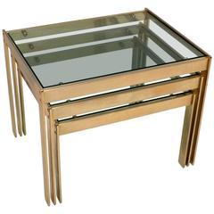 Rare Merrow Associates Brass Nest of Tables Vintage, 1970s