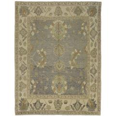 Modern Turkish Oushak Rug with Transitional Style and Neutral Light Colors