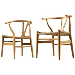 Two Wishbone CH24 Hans Wegner Y Chairs