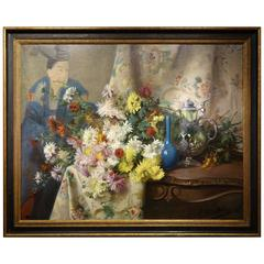 Still Life with Chrysanthemums, Japonism Signed George Binet, 1888