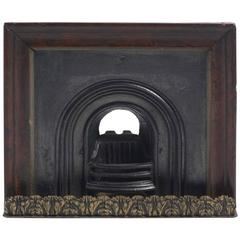 19th Century Cast Iron, Gilt Brass and Wooden Framed Model of a Fireplace