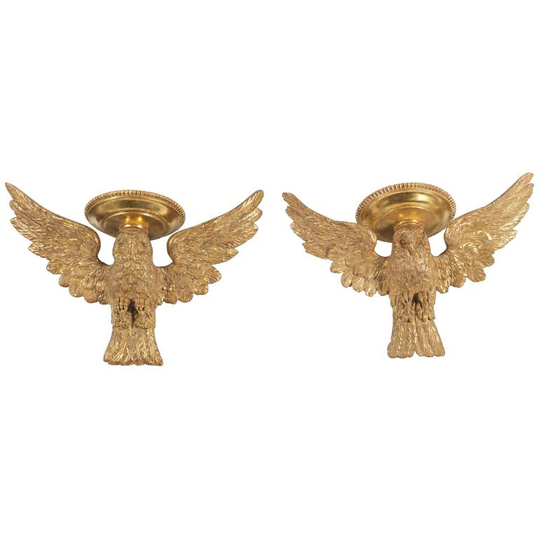 Pair of Early 19th Century Carved Wood, Gesso and Gilt Owl Wall Brackets