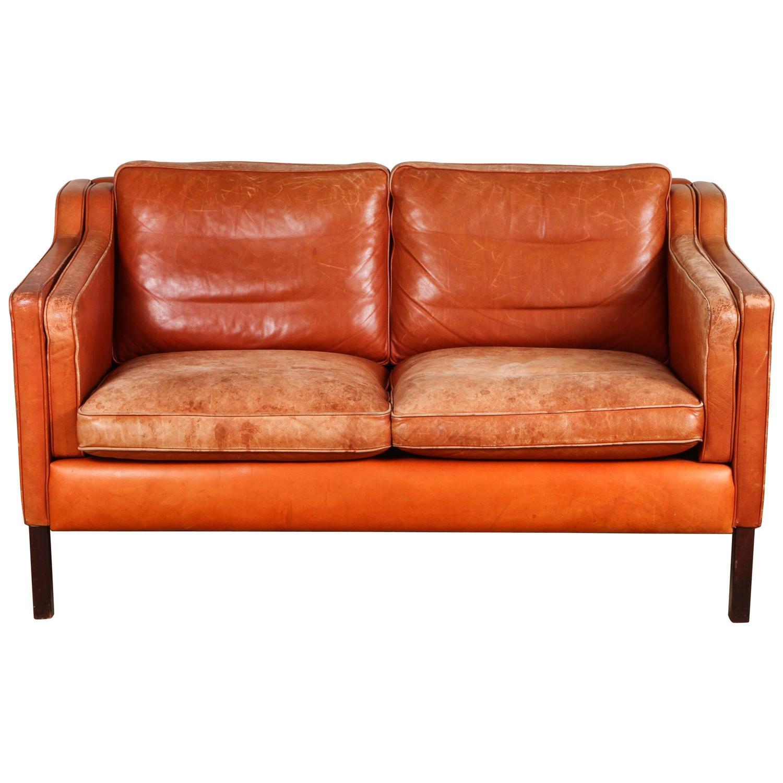 B¸rge Mogensen Mid Century Leather Loveseat Burnt Orange Leather