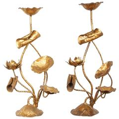 Pair of Italian Gilt Lotus Candelabra or Lamp Bases
