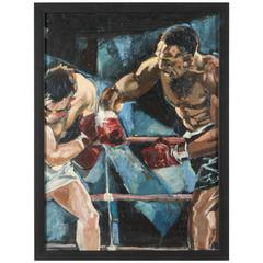 Boxing Painting, Oil on Board