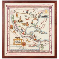 1940s Embroidery Map of North America