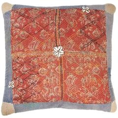 Indian Banjara Cotton Bag Face Pillow in Red, Yellow, Ivory and Light Blue