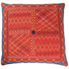 Indian Banjara Cotton Bag Face Pillow in Red, Blue, Yellow, White and Black