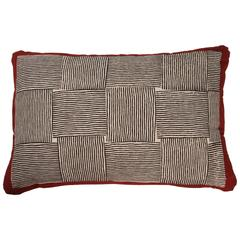 Gopal Indian Cotton Block Print Pillow, Black, White and Red