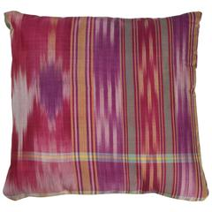 Central Asian Silk Ikat Pillow, Red, Pink, Gold, Green and Purple