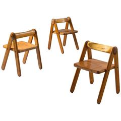 Three Small Chairs in Solid Pine