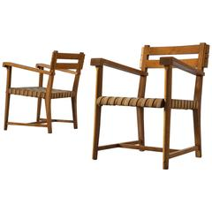 Two Armchairs in Solid Oak