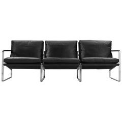 Three-Seat Leather Sofa by Preben Fabricius & Jørgen Kastholm