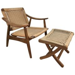 Hans-Wegner Style Lounge Chair and Ottoman