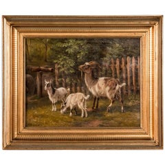 Antique 19th Century Original Danish Oil Painting of Barnyard Goats