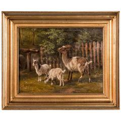 Antique 19th Century Original Danish Oil Painting of Barnyard Goats