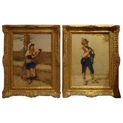 Rare 19th Century Pair of Large Original Museum Quality Paintings Filippo Indoni