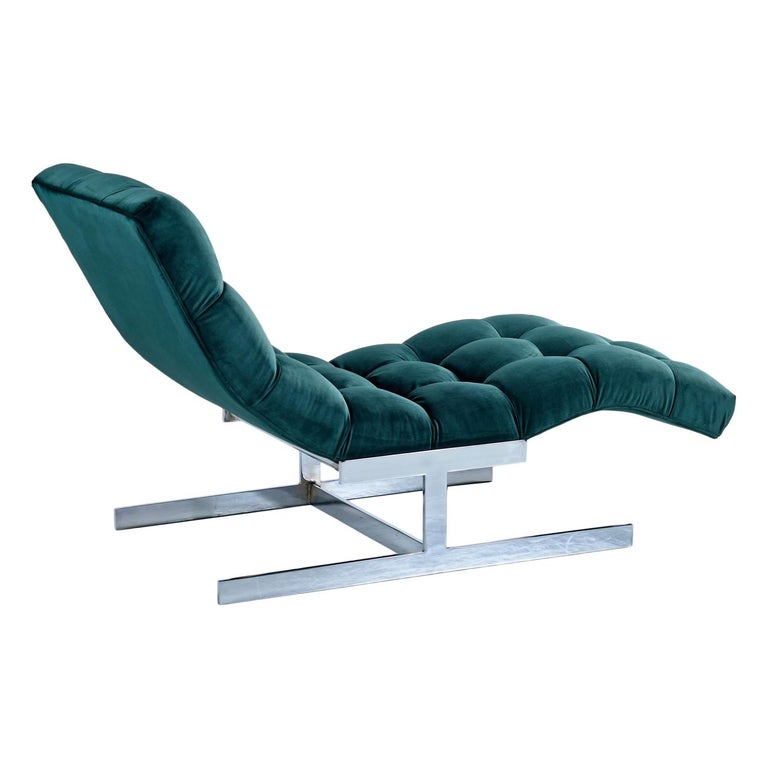 New Forest Green Velvet Milo Baughman Style Wave Chaise Lounge by Carsons 2