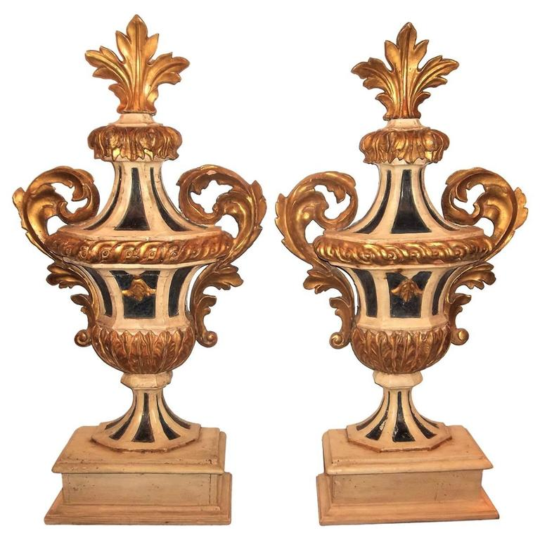 Tall Pair of Painted and Giltwood Italian Urns