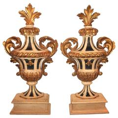 Tall Carved  Pair of Painted and Giltwood Italian Urns or Appliques