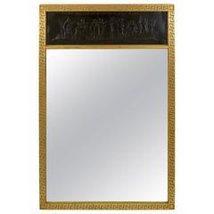 Trumeau Mirror with Gilt Greek Key Frame