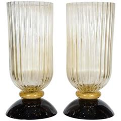 Exceptional Pair of Vases in Murano Glass Signed Toso