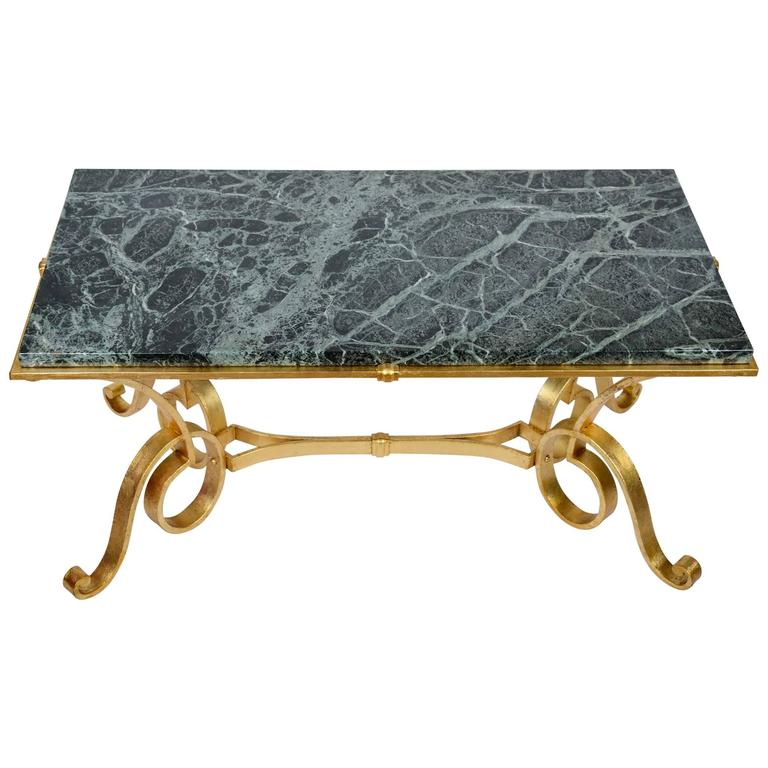 Coffee table in gold wrought iron and marble for sale at for Marble and wrought iron coffee table